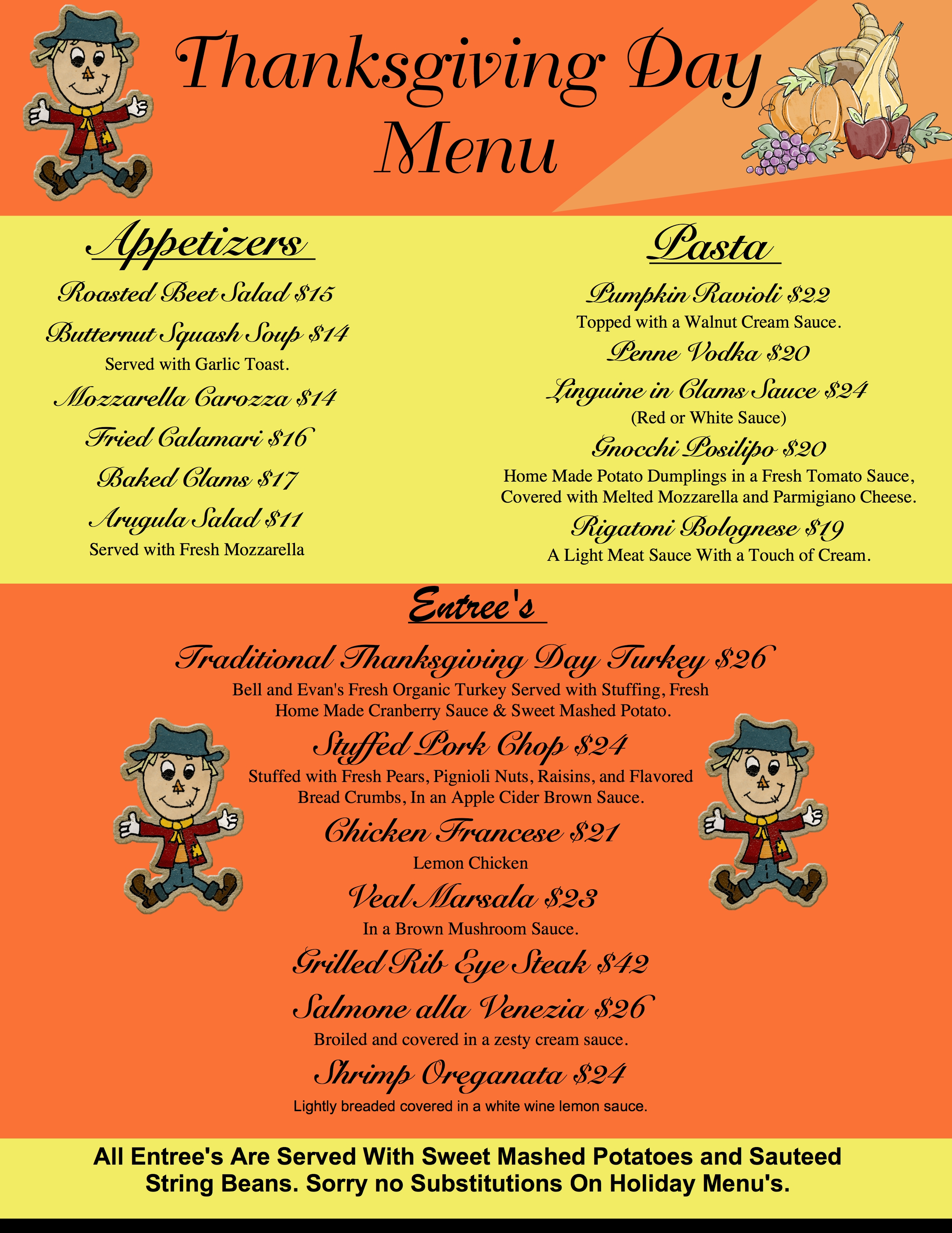 Thanksgiving Day Reservations!! @ Mama Rao's